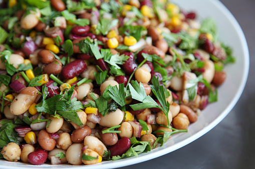 Vegan three bean salad recipe with red beans, green beans and chickpeas